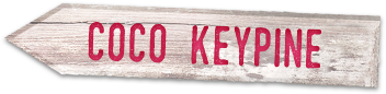 "Stylized wooden sign that says ""Coco Keypine"""