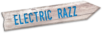 "Stylized wooden sign that says ""Electric Razz"""