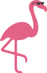 Cartoon flamingo wearing sunglasses